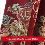 Burgundy Red Floral Blackout Swag Curtain Drapes