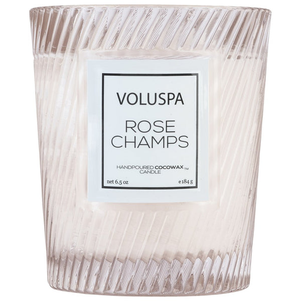 Voluspa Rose Champs Classic Textured Glass Candle