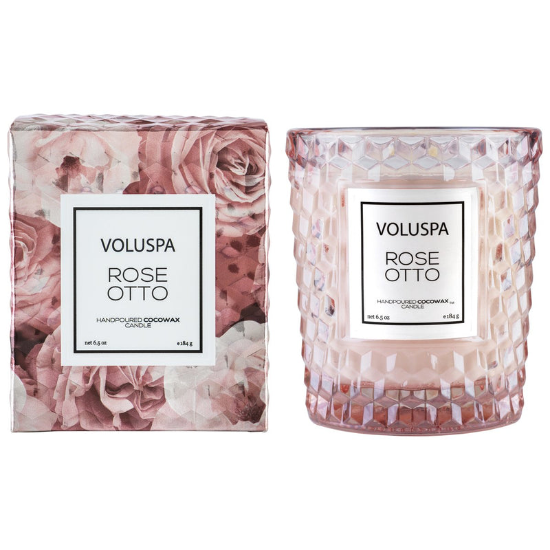 Voluspa Rose Otto Classic Textured Glass Candle