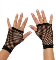 Wrist Length Fishnet Gloves - Black