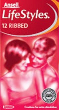 Ansell Lifestyles 12 Ribbed Condoms