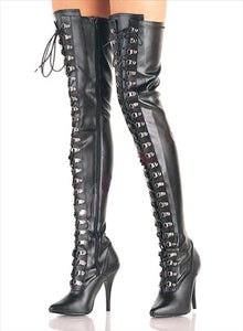 "Thigh High Boots 3324m Black 4"" Size 10"