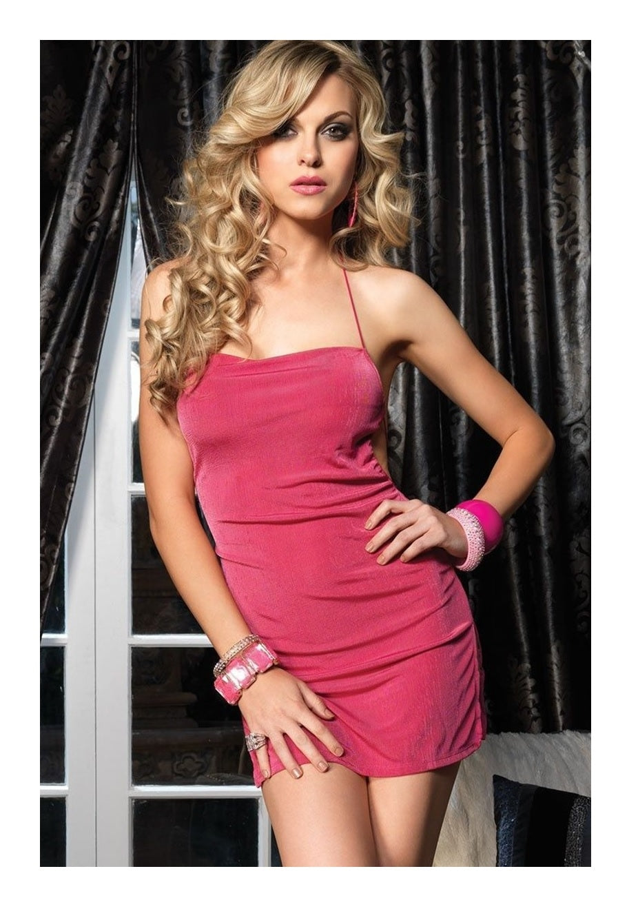 Slinky Mini Dress With Elastic Straps Pink One Size Style 8049
