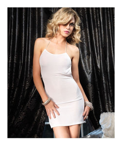 Slinky Mini Dress With Elastic Straps One Size Style 8049 White