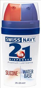 Swiss Navy 2 In 1 Silicone & Water Based Lubricant 25x25 M L