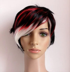 Wig Short Black W/ Red & White Highlights