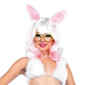 Bunny Two-tone Wig With Latex Ears One Size Style A2677