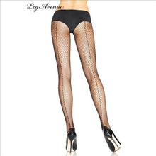 Load image into Gallery viewer, 9015 Backseam Fishnet Pantyhose Black One Size