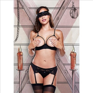 Love Slave - Open Cup Black Bra 4pce Set