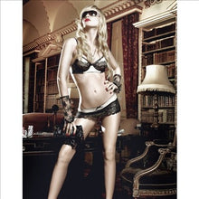 Load image into Gallery viewer, Mesh Bra And Skirt Set Champagne & Blk Size M / L