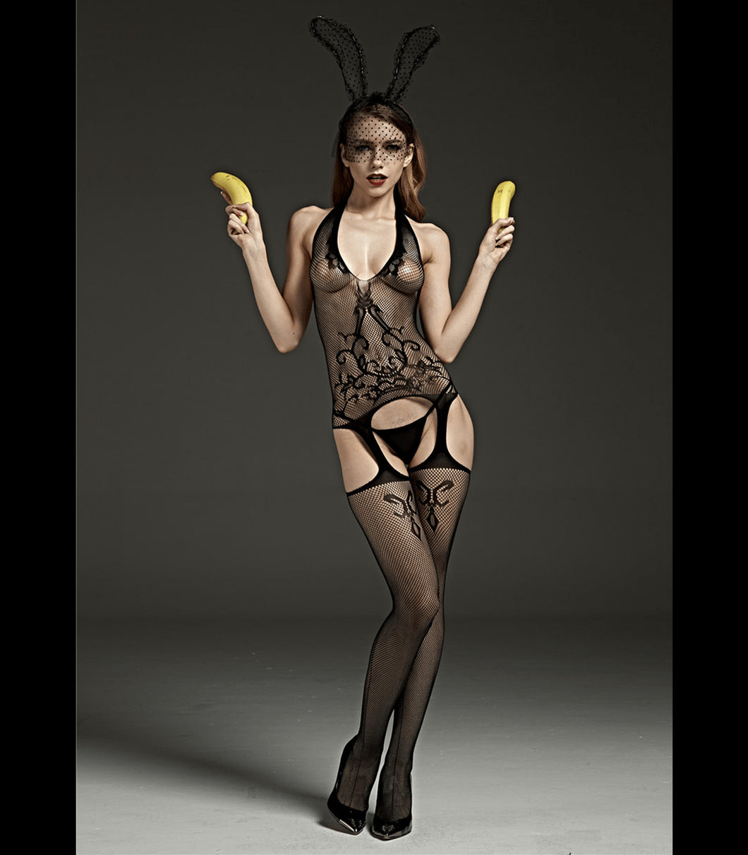 Crutchless Halter Neck Body Stocking With Lace Design Black