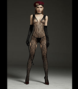Crutchless, Wide Strap Body Stocking With Thigh Cut Outs Black