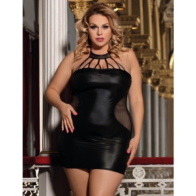 Black Pleather Dress (14-16) 2xl