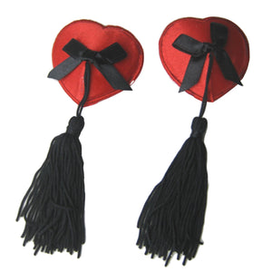 Nipple Cover Red/black Heart And Tassel