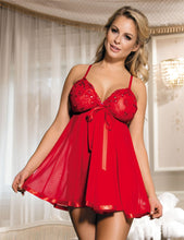 Load image into Gallery viewer, Red Floral Bra Babydoll (14) 2xl