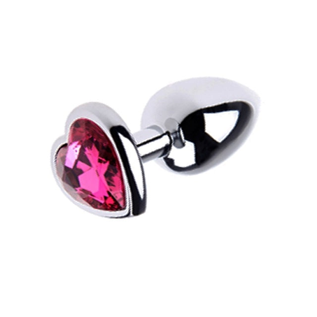 Heart Jeweled Butt Plug Small Pink