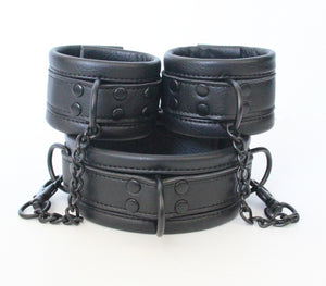 Soft Black Collar To Wrist Shackle
