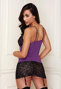 Lace And Mesh Chemise + G-string Purple/black S/m