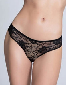 Black Crotchless Lace Panty (20-22) 5xl