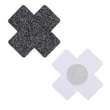 Load image into Gallery viewer, Nipple Cover Cross Black Glitter