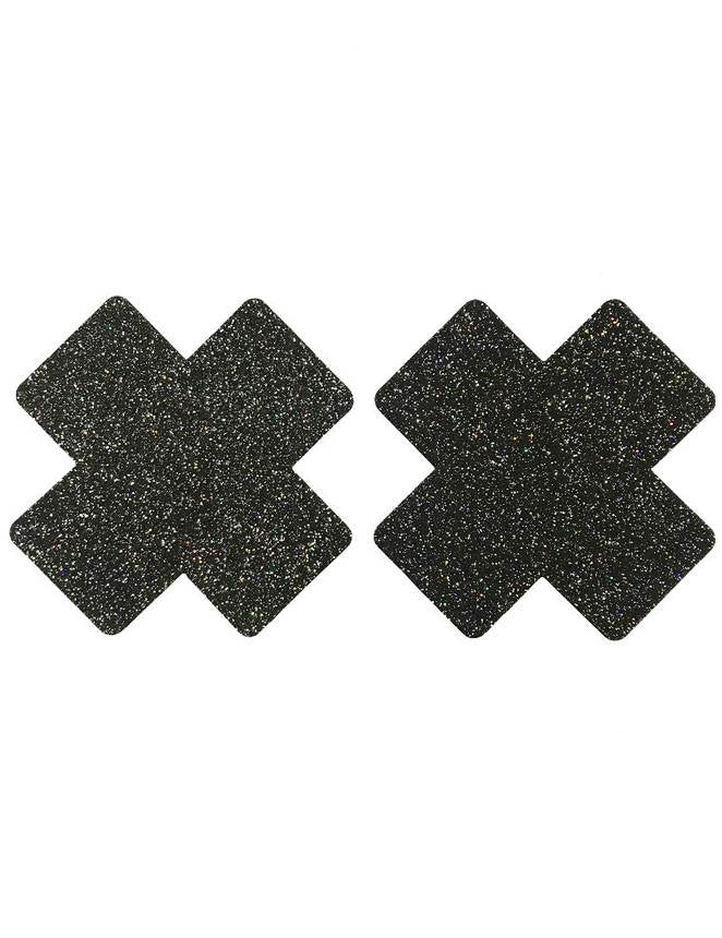 Nipple Cover Cross Black Glitter