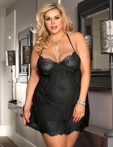 Black Eyelash Lace Trim Babydoll (20-22) 5xl