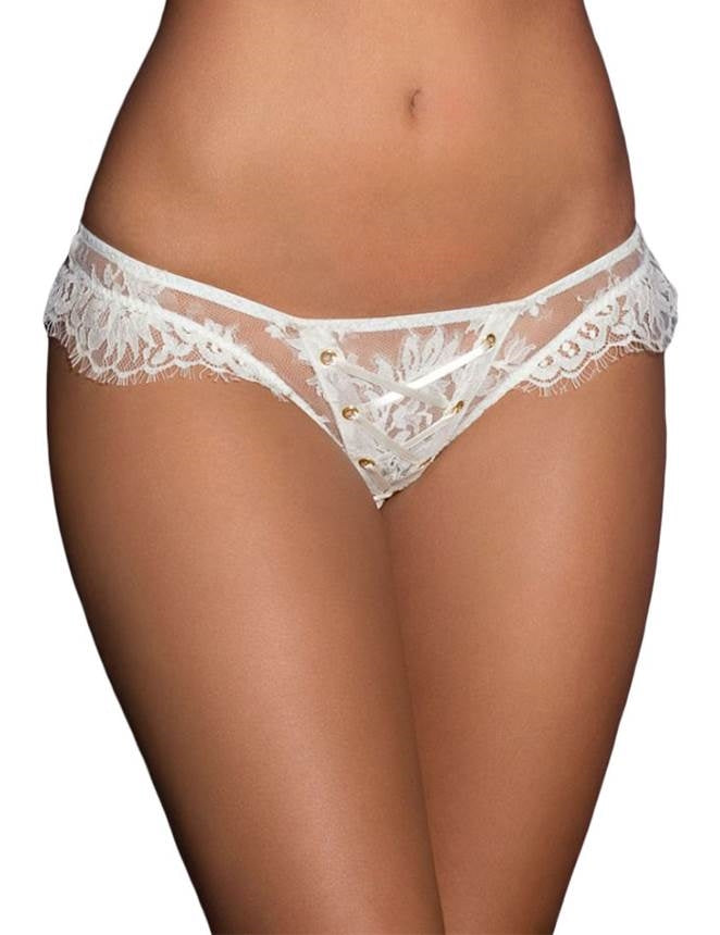 White Ribbon Eyelash Lace Panty (18) 3xl