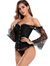 Load image into Gallery viewer, Black Corset W/ Lace Sleeves (16) 2xl
