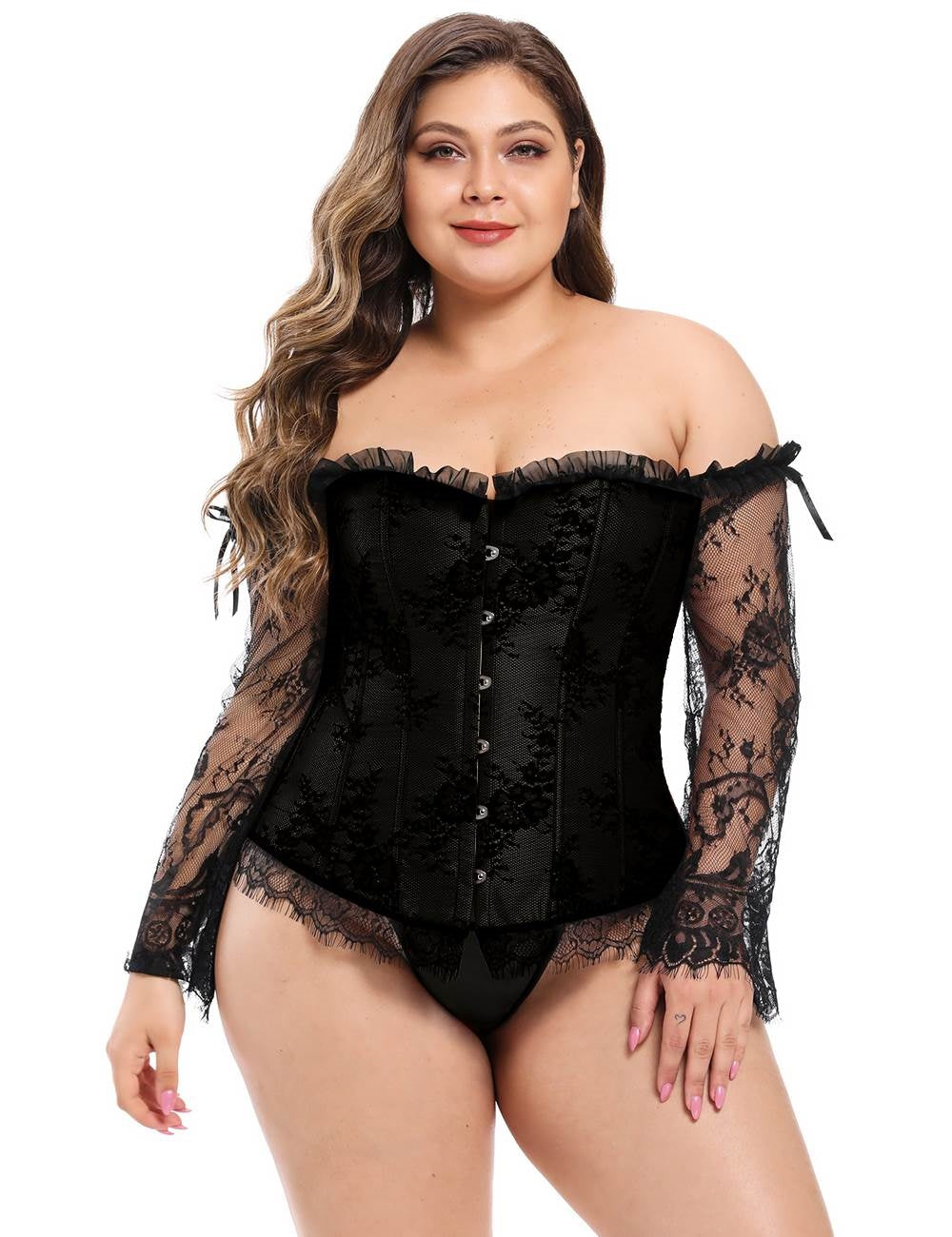 Black Corset W/ Lace Sleeves (22) 5xl
