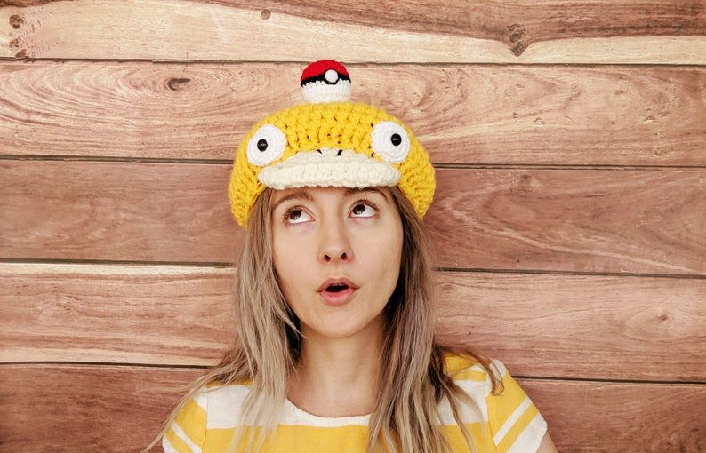 Crochet Hats – Handmade Psyduck Inspired Hat Needlework – Pokemon Inspired Crochet, Amigurumi Style