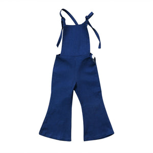 New Fashion Toddler Kids Baby Girl Sleeveless Backless Strap Denim Overall Romper Jumper Bell Bottom Trousers Summer Clothes