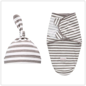 Baby Swaddle Blanket + Cap Newborn Cocoon Wrap Cotton Swaddling Bag Baby Envelope Sleep sack Bedding