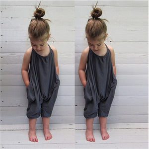 Fashion New Kids Baby Girls Sleeveless Halter Strap Cotton Romper Jumpsuit Harem Trousers Summer Body suit Clothes 2-8Y