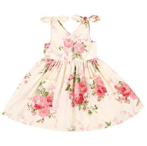 Flofallzique Toddler Girl Dresses Baby Summer Cute Strawberry V-neck Comfortable Cotton Kid Clothes
