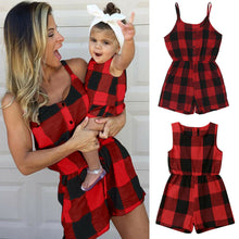 Load image into Gallery viewer, Mother Daughter Family Matching Outfits Clothes Plaid Parent-child Dress Baby Girls Mom Romper Fashion Summer Women Kids Costume