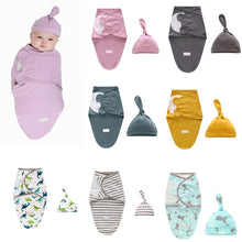 Load image into Gallery viewer, LAT 2 Pieces Set Newborn Swaddle Wrap +Hat Cotton Baby Receiving Blanket Bedding Cartoon Cute Infant Sleeping Bag For 0-6 Months