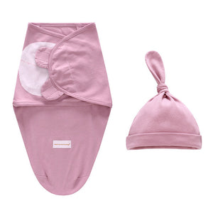 LAT 2 Pieces Set Newborn Swaddle Wrap +Hat Cotton Baby Receiving Blanket Bedding Cartoon Cute Infant Sleeping Bag For 0-6 Months