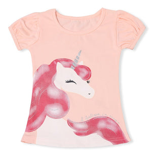 2020 Summer Fashion Unisex Unicorn T-shirt Children Boys Short Sleeves White Tees Baby Kids Cotton Tops For Girls Clothes 3 8Y
