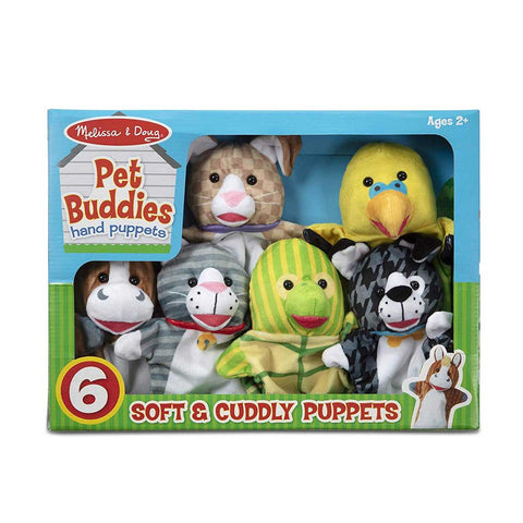 9119 Pet Buddies Hand Puppets, Set of 6 (Cat, Dog, Horse, Parrot, Turtle, Rabbit) 2+