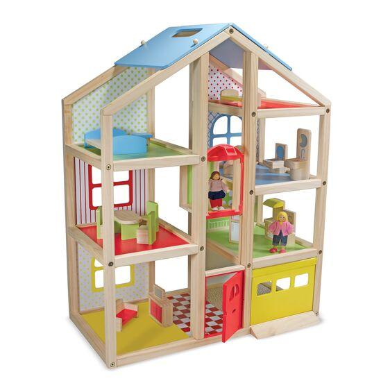 2462 Hi-Rise Wooden Dollhouse and Furniture Set 3+