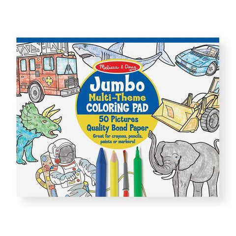 4226 Jumbo 50-Page Kids' Coloring Pad - Space, Sharks, Sports, and More 3+