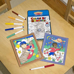 5378 On the Go Color by Numbers Kids' Design Boards With 6 Markers - Playtime, Construction, Sports, and More 5+