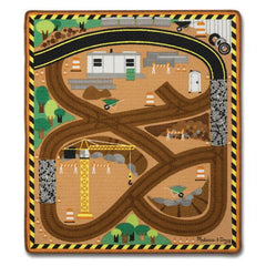 9407 Round the Construction Zone Work Site Rug & Vehicle Set 3+