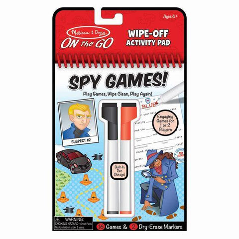 30170 Spy Games Wipe-Off Activity Pad - On the Go Travel Activity 6+