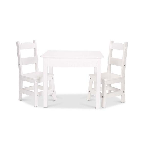 30225 Wooden Table & Chairs - White 3+