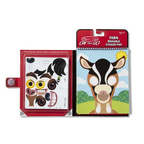 30511 Make-a-Face - Farm Reusable Sticker Pad - On the Go Travel Activity 4+