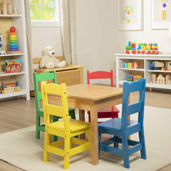 30233 Wooden Table & 4 Chairs - Primary (Natural Table, Yellow, Blue, Red, Green Chairs)