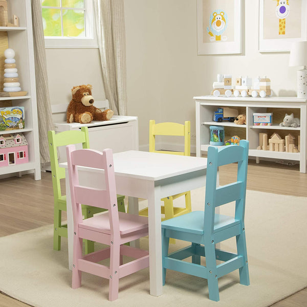 30234 Furniture Wooden Table and 4 Chairs - Pastel (White Table, Pastel Pink, Yellow, Green, Blue Chairs)