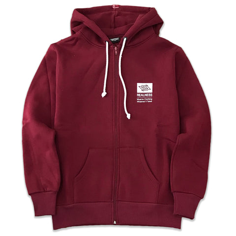 REALNESS ZIP-UP HOODIE BORDEAUX