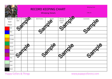 Record Keeping Charts for Breeders - Puppy Collars & Things